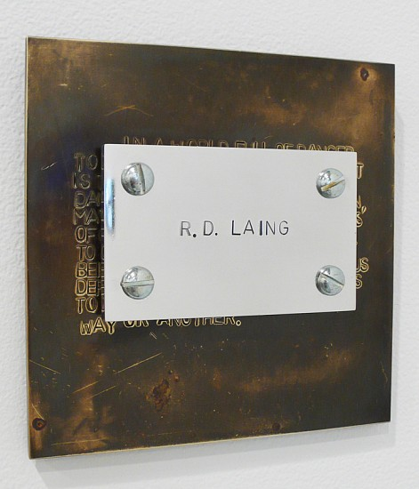 Richard Thatcher ,   From the Philosopher's Series: Laing, The Divided Self  ,  1989     Hand stamped text on brass plates ,  6 x 6 inches (15 x 15 cm)