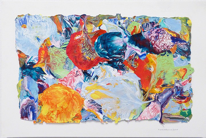 Vadim Katznelson, Untitled 2014, Acrylic paint on Lanaquarelle paper