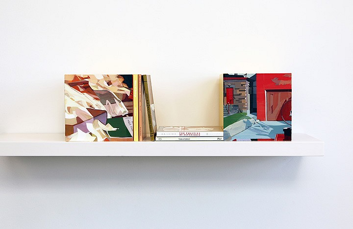 Maria Park, Bookends Set 4 2014, Acrylic on plexiglas cubes and 5 books on shelf, Books: Chris Kraus, Where Art Belongs, Semiotexte (2011); John Muir, All the World Over, Sierra Club (1996); John Muir, Mountaineering Essays, Peregrine Smith Books (1984); Joseph Conrad,