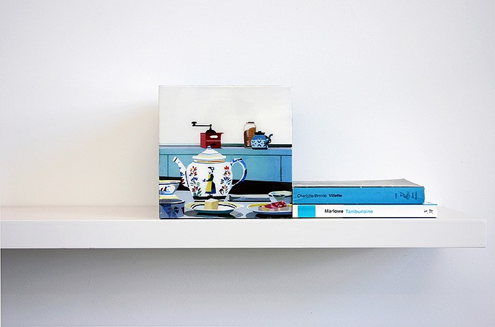 Maria Park, Bookend Set 7 2014, Acrylic on plexiglas cube and 2 books on shelf, Books: Christopher Marlowe, Tamburlaine, A & C Black (1997); Charlotte Bronte, Vilette, JM Dent (1978)