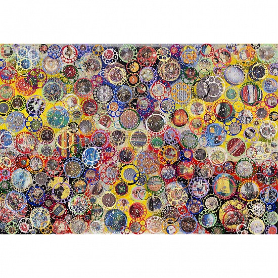 Nobu Fukui, Excited 2014, Beads and mixed media on canvas over panel