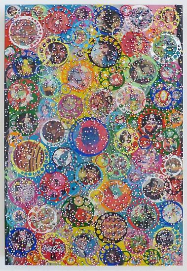 Nobu Fukui, Dancing 2015, Beads and mixed media on canvas