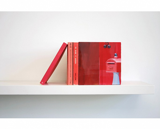 Maria Park, Bookend Set 5 2014, Acrylic on plexiglas cube and 3 books on shelf, Books: Ted Hughes, Gaudette, Faber and Faber (1977); John Fowles, The French Lieutenant's Woman, Signet (1969); Mary Cooke, To Raise a Nation, Hawaiian Mission (1978)