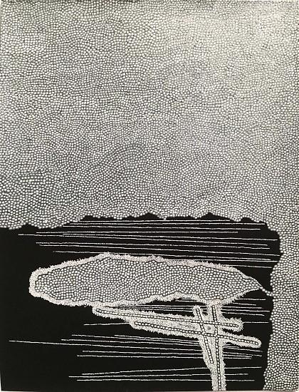 Robert Jack, Filing between the Gaps 2012, Ink and metallic ink on black pastel paper