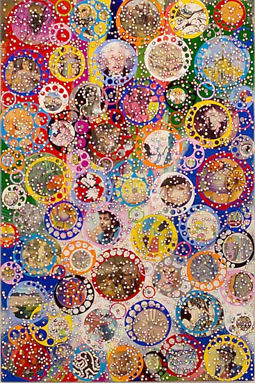 Nobu Fukui, Fabulous 2017, Beads and mixed media on canvas over panel