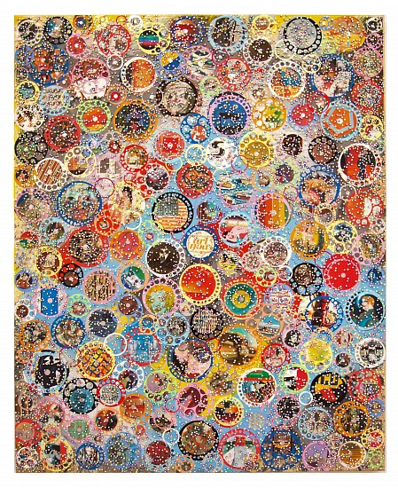 Nobu Fukui, Safe Harbor 2017, Beads and mixed media on canvas over panel