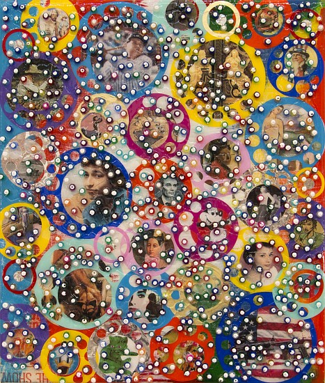 Nobu Fukui, PATH 2018, Beads and mixed media on canvas over panel