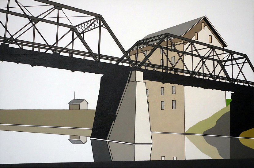 William Steiger, Bridge, Mill, River 2018, Oil on linen